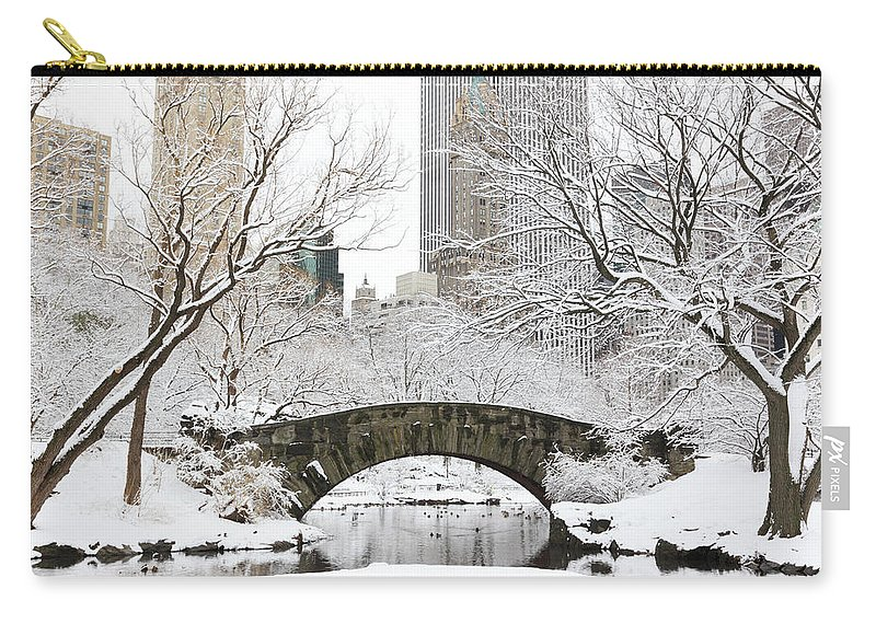 Snow Carry-all Pouch featuring the photograph Central Park, New York by Veni