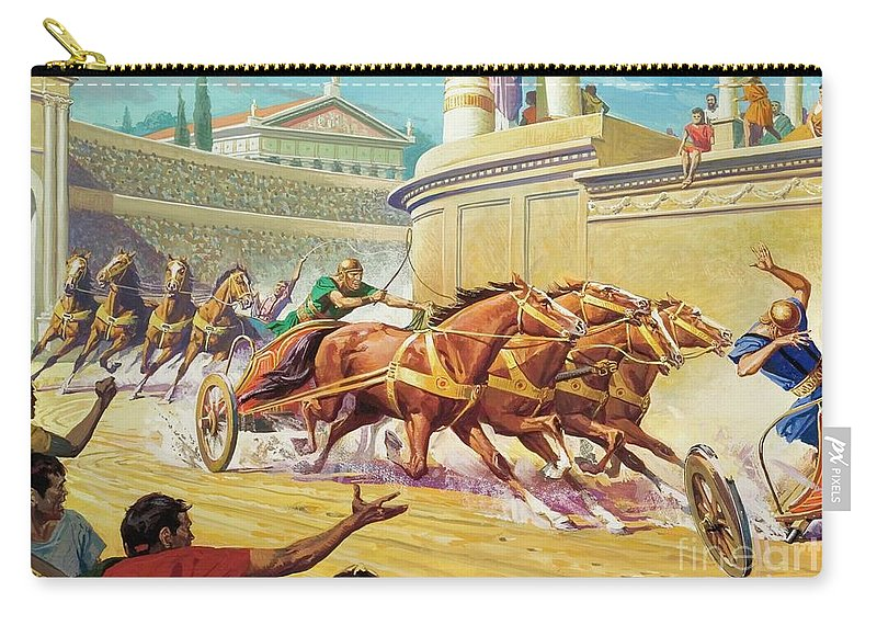 Chariot Race Carry-all Pouch featuring the painting Chariot Race At The Circus Maximus by Severino Baraldi