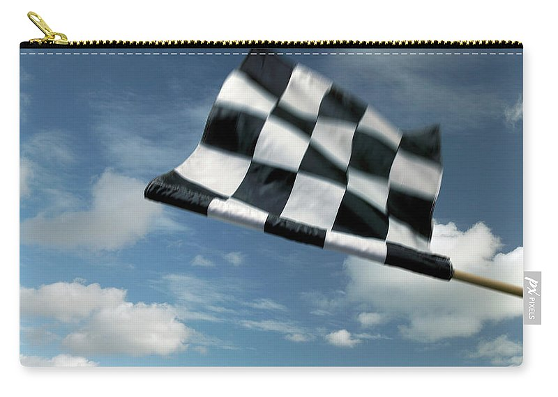 Working Carry-all Pouch featuring the photograph Checkered Flag by James W. Porter