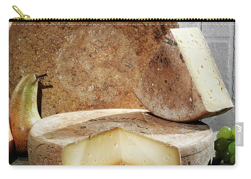 Fontina Carry-all Pouch featuring the photograph Cheese, Fruit And Grains On Table by Walter Zerla