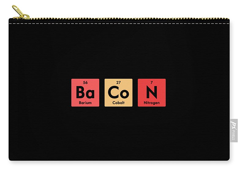 Chemistry Teacher Carry-all Pouch featuring the digital art Chemistry Periodic Table Bacon Chemist Elements Gift by Haselshirt