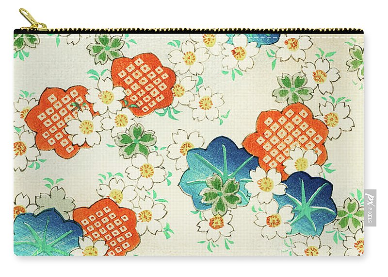 Watanabe Seitei Carry-all Pouch featuring the painting Cherry Blossoms And Fallen Leaf- Japanese Traditional Pattern Design by Watanabe Seitei