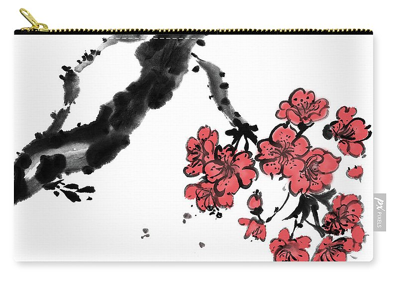 Chinese Culture Carry-all Pouch featuring the digital art Cherry Blossoms by Vii-photo