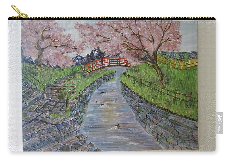 Landscape Carry-all Pouch featuring the painting Cherry River by Elif Basol