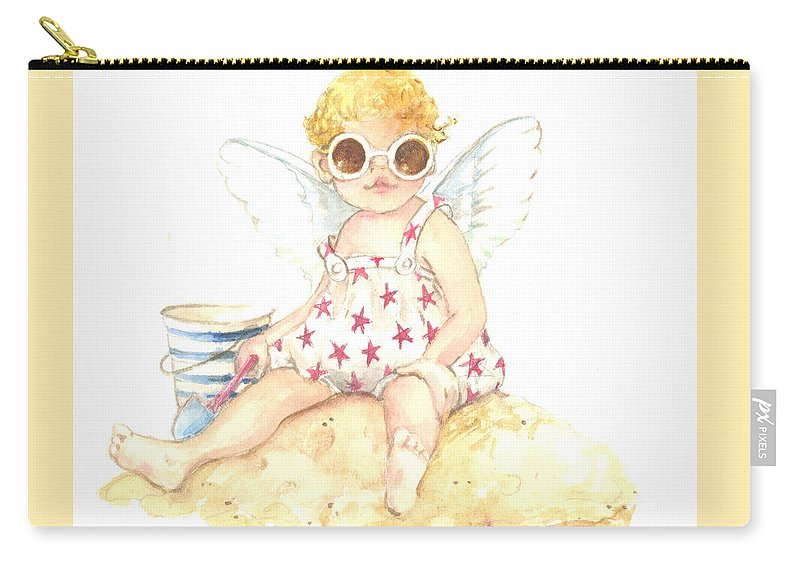 Cherub Carry-all Pouch featuring the painting Cherub In The Sand by Carolyn Shores Wright