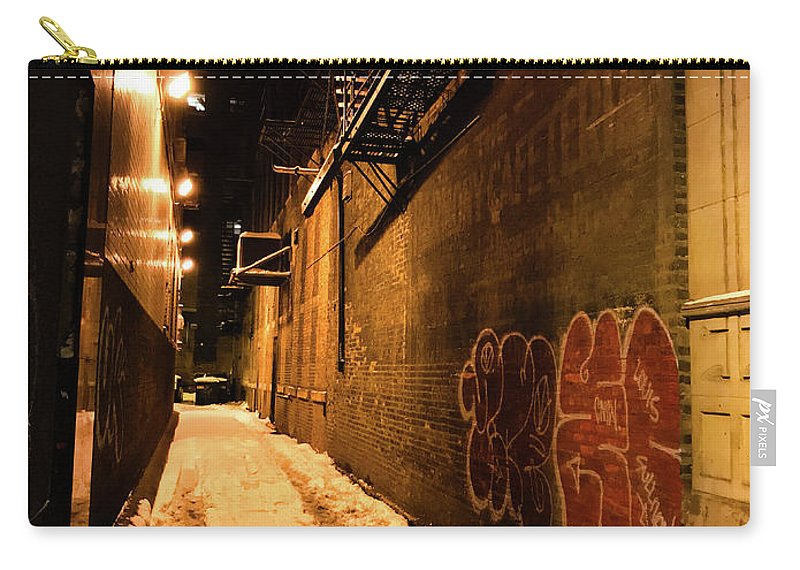 Chicago Carry-all Pouch featuring the photograph Chicago Alleyway At Night by Shane Kelly