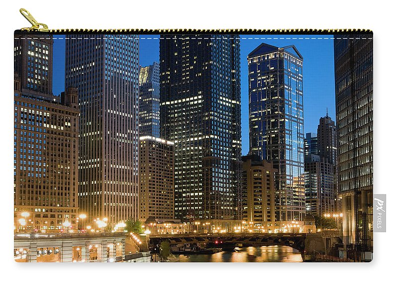 Chicago River Carry-all Pouch featuring the photograph Chicago At Dusk by Chris Pritchard