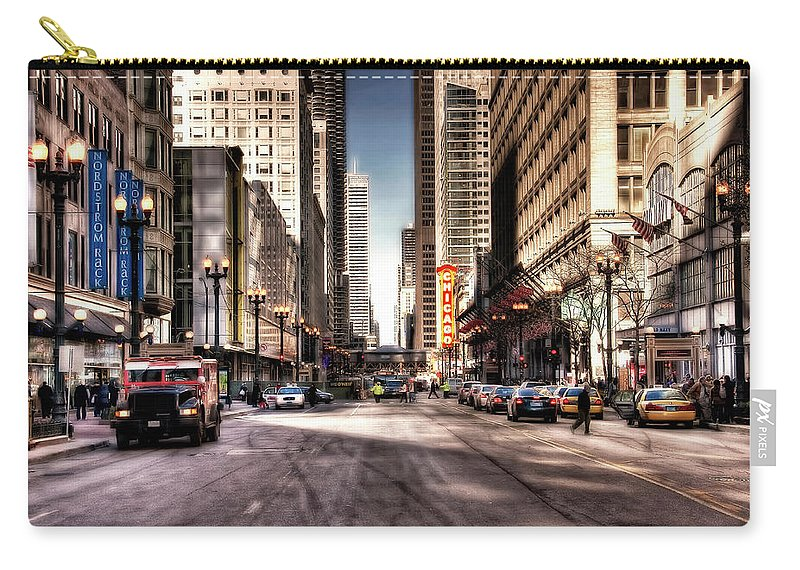 Downtown District Carry-all Pouch featuring the photograph Chicago City Center At State Street by Paul Biris
