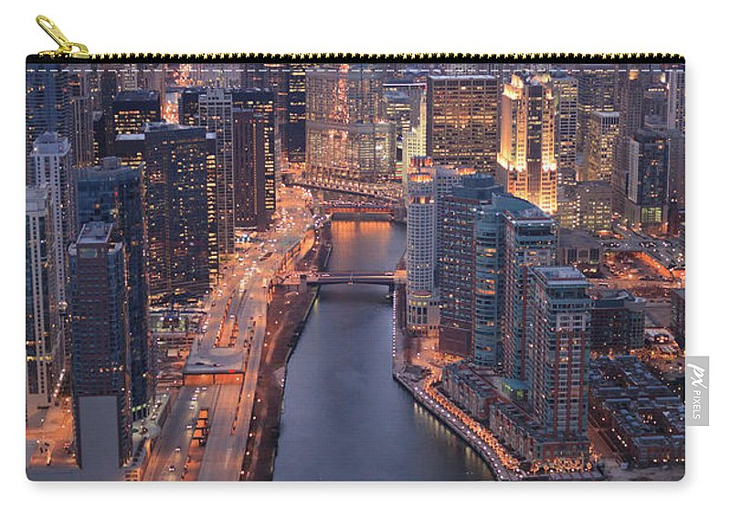 Tranquility Carry-all Pouch featuring the photograph Chicago Downtown - Aerial View by Berthold Trenkel