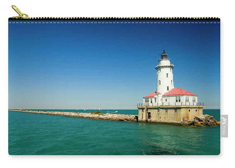 Lake Michigan Carry-all Pouch featuring the photograph Chicago Harbor Lighthouse by Chrisp0