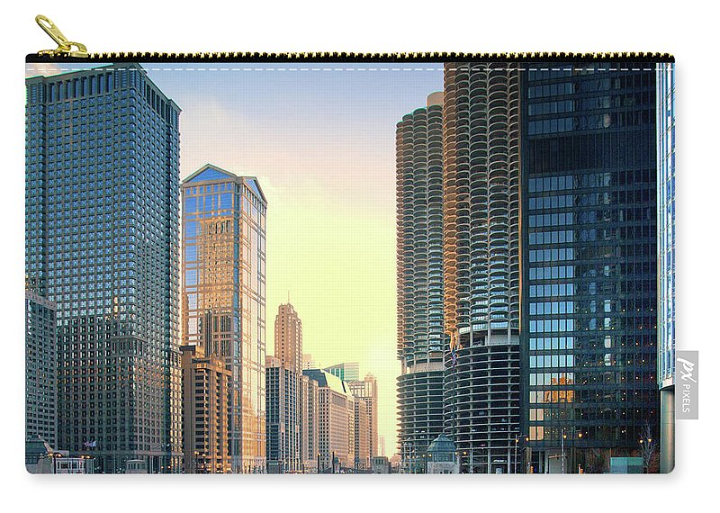 Chicago River Carry-all Pouch featuring the photograph Chicago River by Photography By Aurimas Adomavicius