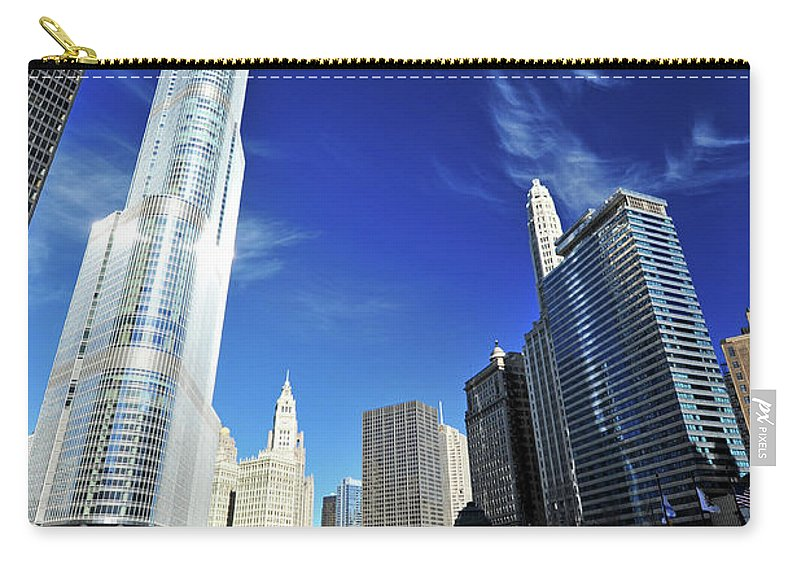 Chicago River Carry-all Pouch featuring the photograph Chicago River by Piriya Photography