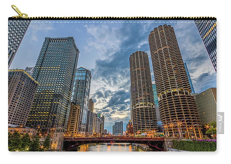 Chicago River Carry-all Pouch featuring the photograph Chicago River Sunset by Carl Larson Photography