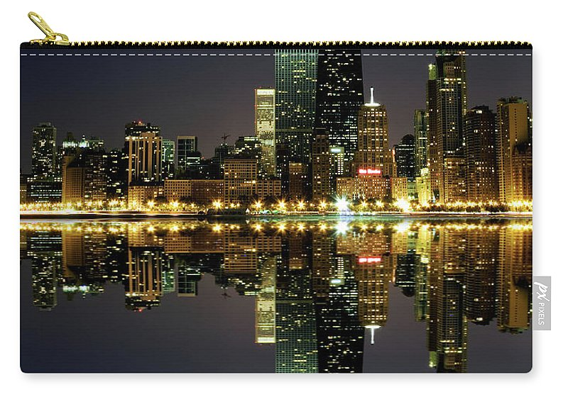 Lake Michigan Carry-all Pouch featuring the photograph Chicago Skyline Reflected On Lake by Pawel.gaul