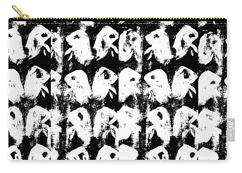 Flock Carry-all Pouch featuring the digital art Chicken Farm 3 by Edgeworth DotBlog