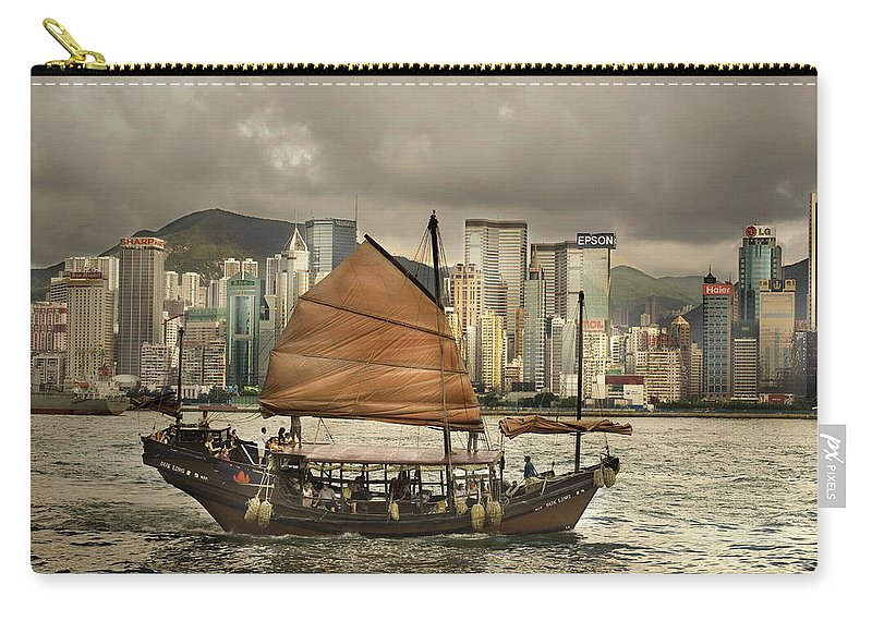 Sailboat Carry-all Pouch featuring the photograph China, Hong Kong, Junk Boat In Bay by Maremagnum