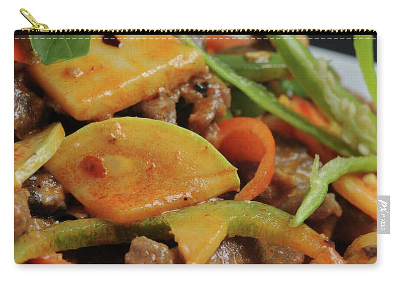 Food Carry-all Pouch featuring the photograph Chinese Pan Fried Beef A4 by Ilan Amihai