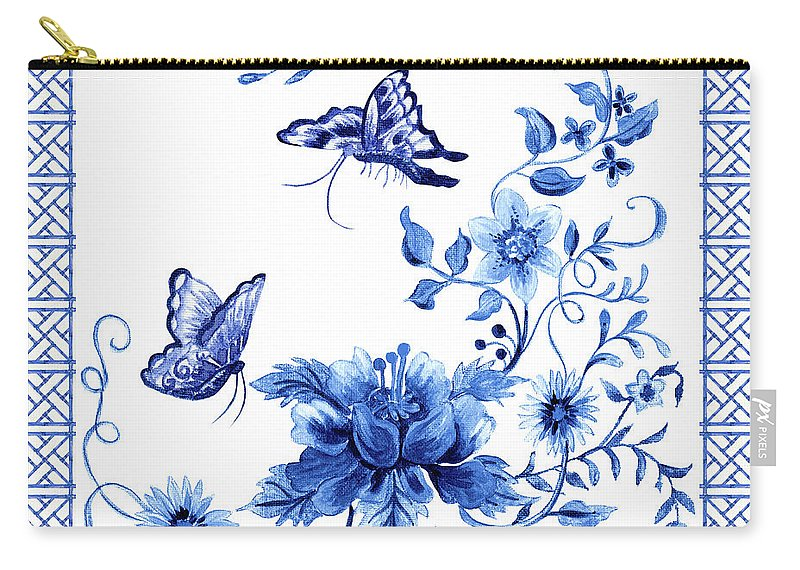 Butterflies Carry-all Pouch featuring the painting Chinoiserie Blue And White Pagoda With Stylized Flowers Butterflies And Chinese Chippendale Border by Audrey Jeanne Roberts