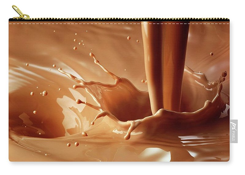 Protein Drink Carry-all Pouch featuring the photograph Chocolate Milk Pour And Splash by Jack Andersen