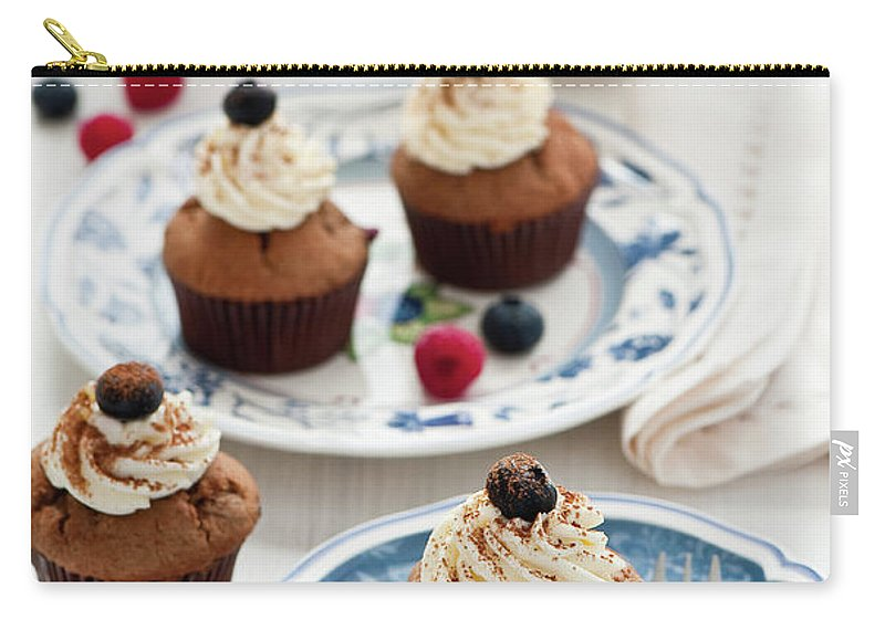 Temptation Carry-all Pouch featuring the photograph Chocolate Muffins With Berries by Verdina Anna
