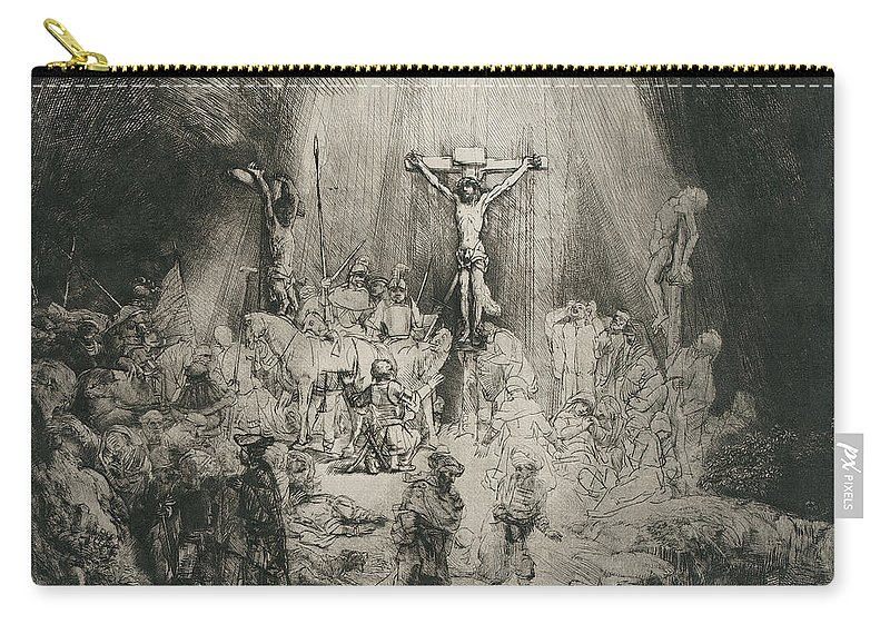 Rembrandt Harmensz. Van Rijn Carry-all Pouch featuring the painting Christ Crucified Between The Two Thieves  The Three Crosses     by Rembrandt Harmensz van Rijn