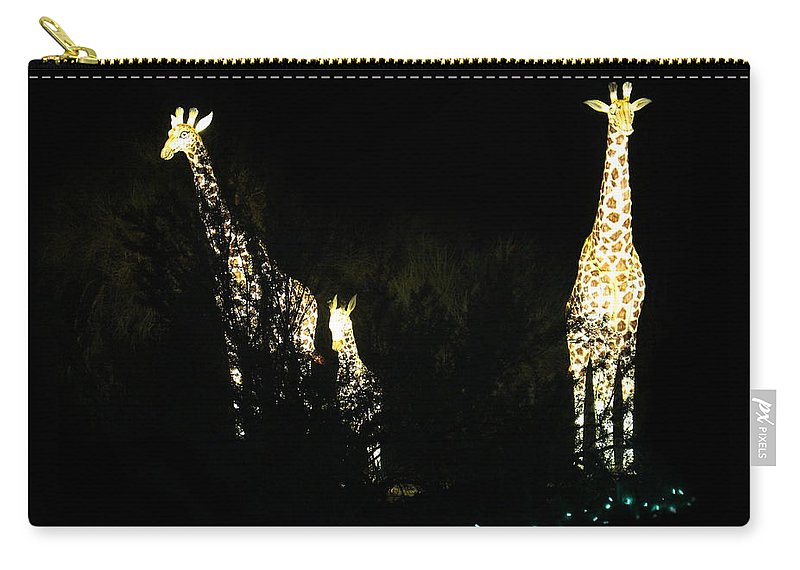 Giraffes Carry-all Pouch featuring the photograph Christmas At The Living Desert Zoo - Giraffe Family by Colleen Cornelius