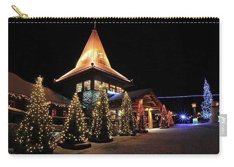 Holiday Carry-all Pouch featuring the photograph Christmas Decorated Town by Csondy