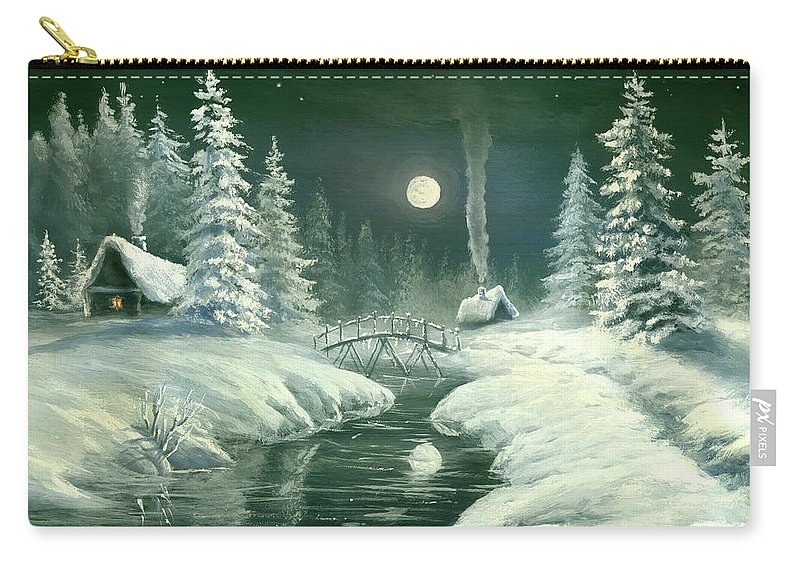 Art Carry-all Pouch featuring the digital art Christmas Night In The Country by Pobytov