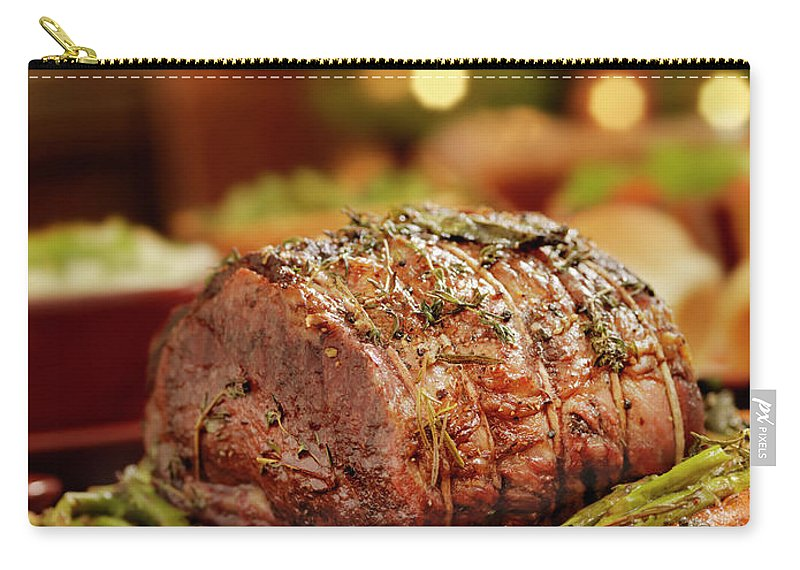 Roast Dinner Carry-all Pouch featuring the photograph Christmas Roast Beef Dinner by Lauripatterson