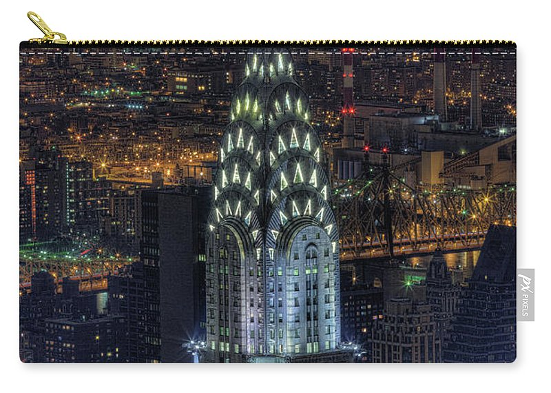 Outdoors Carry-all Pouch featuring the photograph Chrysler Building At Night by Jason Pierce Photography (jasonpiercephotography.com)