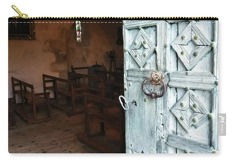 Carry-all Pouch featuring the photograph Church Door Tremouille Auvergne Francd by Patricia Ducher