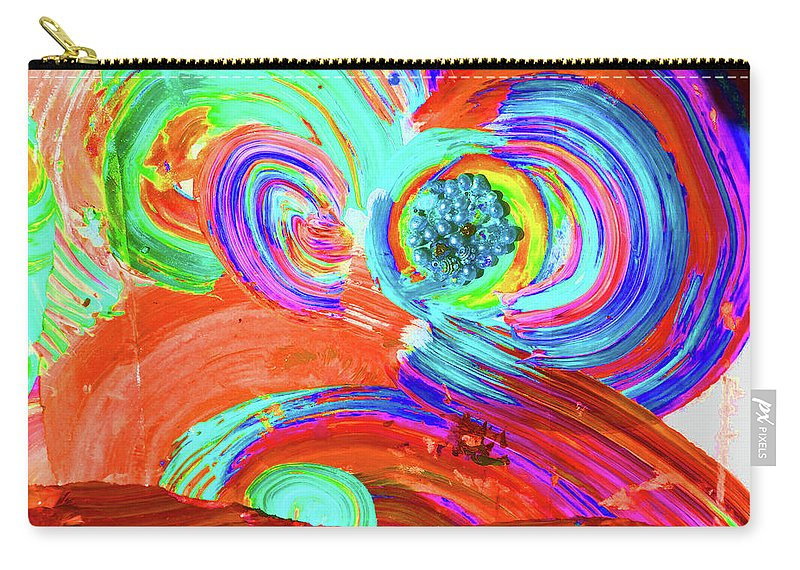 Vivid Carry-all Pouch featuring the mixed media Circle Time by Karen Szybalski