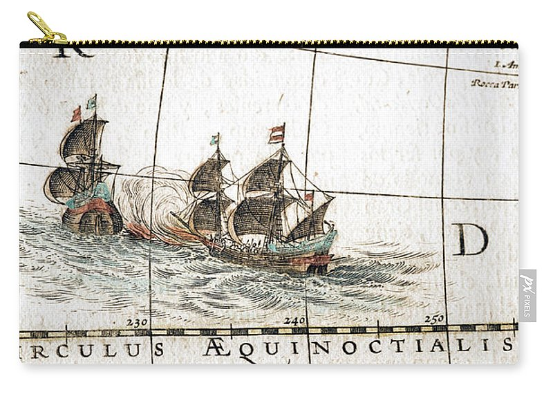 Engraving Carry-all Pouch featuring the digital art Circulus Aequinoctalis, Historical Map by Goldhafen