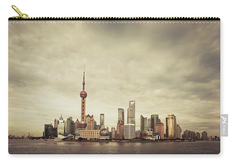 Communications Tower Carry-all Pouch featuring the photograph City Skyline At Sunset, Shanghai, China by D3sign