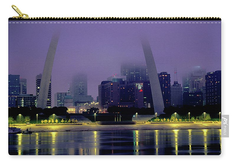 Arch Carry-all Pouch featuring the photograph City Skyline In Fog, With Gateway Arch by John Elk Iii