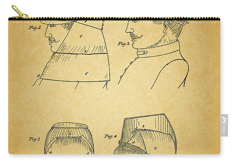 Civil War Military Hat Carry-all Pouch featuring the drawing Civil War Military Hat by Dan Sproul