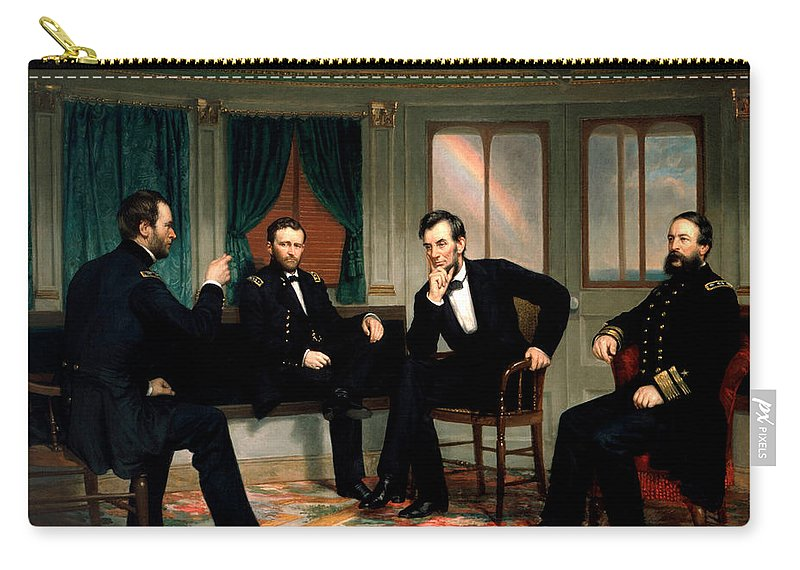 Civil War Carry-all Pouch featuring the painting Civil War Union Leaders - The Peacemakers - George P.A. Healy by War Is Hell Store
