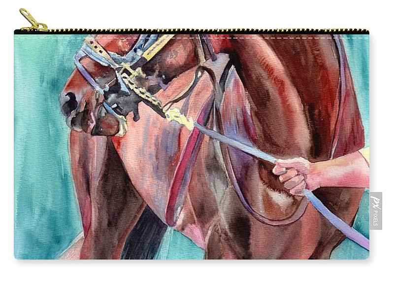 Watercolor Carry-all Pouch featuring the painting Classical Horse Portrait by Suzann Sines