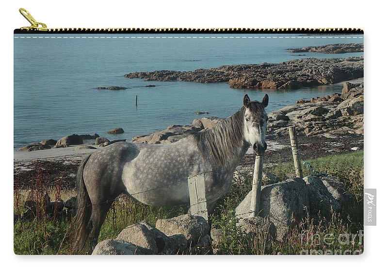 Pony Horse Connemara Galway Ireland Nature Photography Travel Ocean Summer Carry-all Pouch featuring the photograph Cleggan Connemara by Peter Skelton