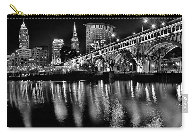 Cleveland Carry-all Pouch featuring the photograph Cleveland Skyline by Frozen in Time Fine Art Photography