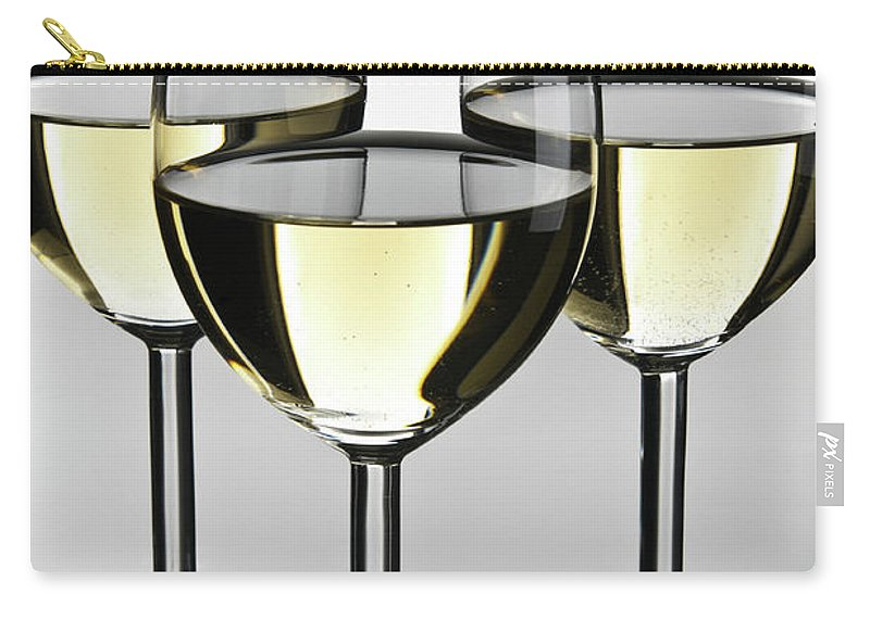 Alcohol Carry-all Pouch featuring the photograph Close-up Of Three White Wine Glasses by Domin domin