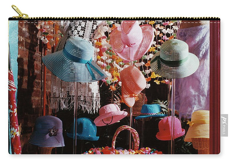 Straw Hat Carry-all Pouch featuring the photograph Clothing Store Window Display by Silvia Otte