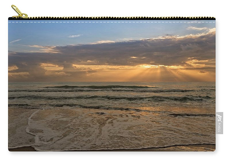 Sea Carry-all Pouch featuring the photograph Cloudy Sunrise In The Mediterranean by Vicen Photography