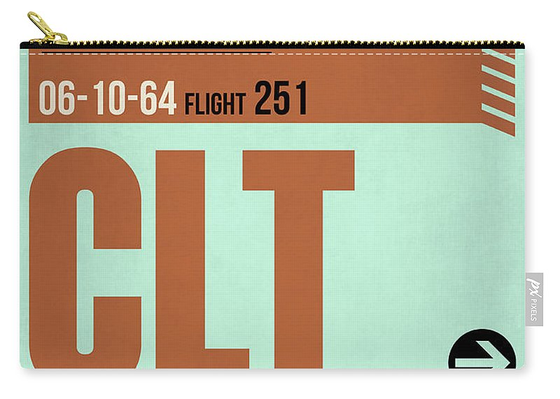 Vacation Carry-all Pouch featuring the digital art Clt Charlotte Luggage Tag I by Naxart Studio