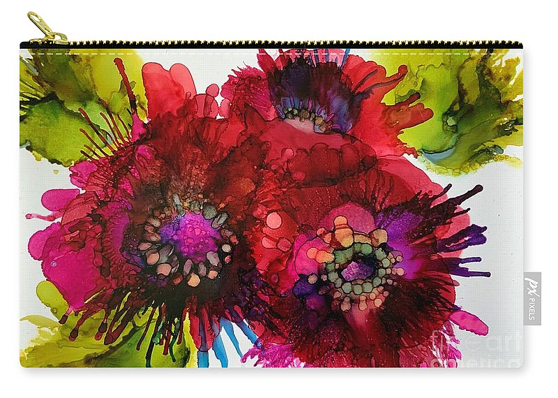 Alcohol Ink Carry-all Pouch featuring the painting Cluster by Beth Kluth