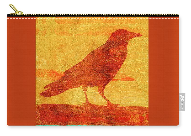 Crow Carry-all Pouch featuring the mixed media Coastal Crow Two by Carol Leigh