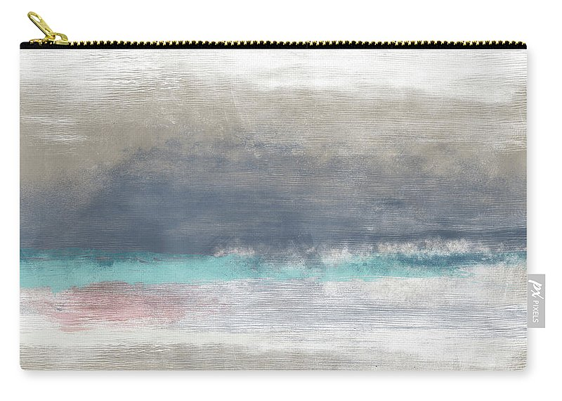 Abstract Carry-all Pouch featuring the mixed media Coastal Escape Landscape -abstract Art By Linda Woods by Linda Woods