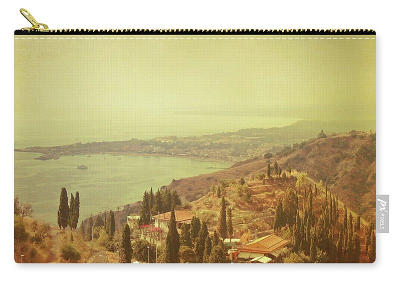 Panoramic Carry-all Pouch featuring the photograph Coastline Of Taormina And Giardini Naxos by Tjarko Evenboer / The Netherlands
