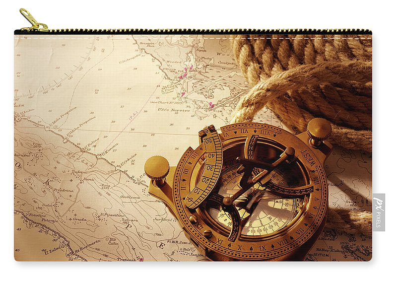 Rope Carry-all Pouch featuring the photograph Coiled Rope And Nautical Chart With A by Wragg