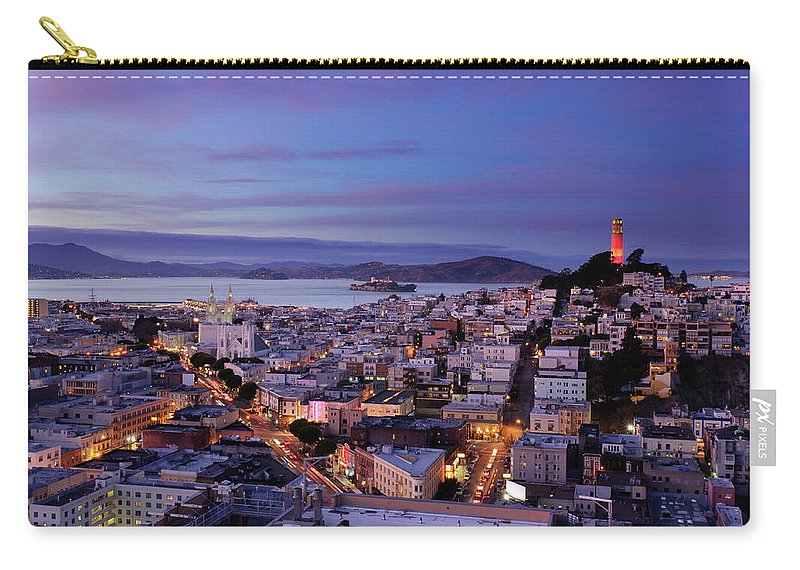 California Carry-all Pouch featuring the photograph Coit Tower And North Beach At Dusk by Photo By Brandon Doran